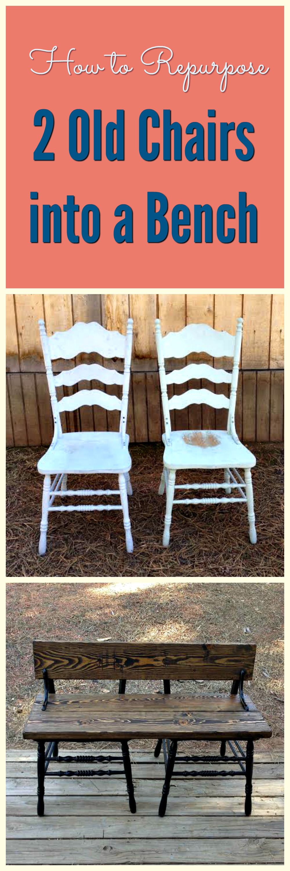 Marvelous How To Repurpose 2 Old Chairs Into A Bench Andrewgaddart Wooden Chair Designs For Living Room Andrewgaddartcom